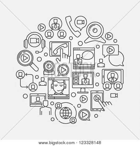 Video conference illustration - vector round online business communication symbol made with thin line icons