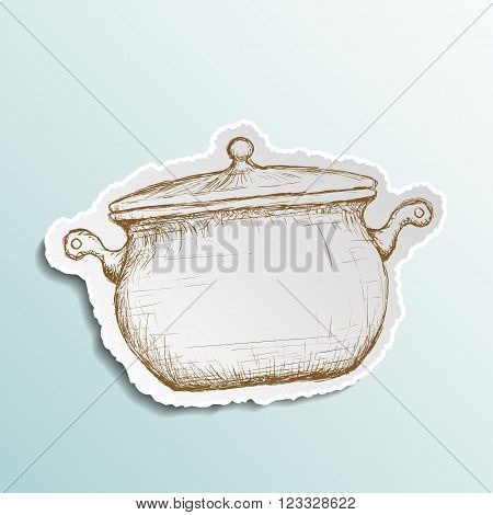 Icon pan is drawn on paper. Doodle image. Stock vector illustration.