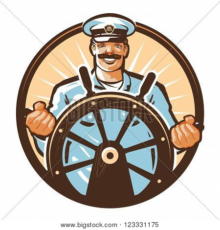 captain of the ship and the helm isolated on a white background. vector illustration