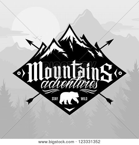 Vector mountain and outdoor adventures logo. Tourism hiking and camping label. Mountain and travel icon for tourism organizations outdoor events and camping leisure.