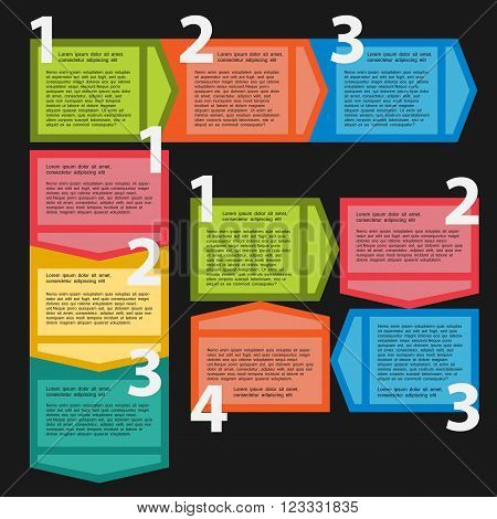 Three variants of sequential steps for infographics numbered banners graphic or website layout vector presentations stages.