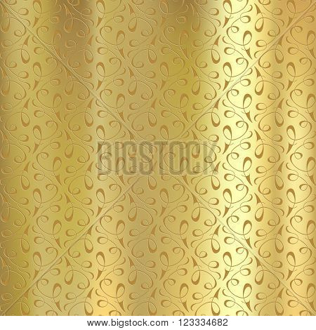 Geometric pattern on a gold plate. Engraving on metal. Stock vector illustration.