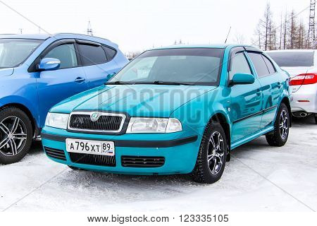NOVYY URENGOY RUSSIA - FEBRUARY 2 2016: Motor car Skoda Octavia in the city street.