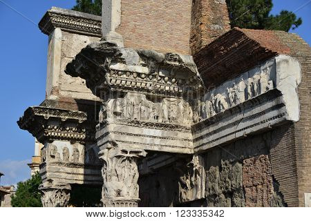 Detail of columns and frieze from ancient Forum of Nerva with scenes of weaving and spinning,  in the center of Rome
