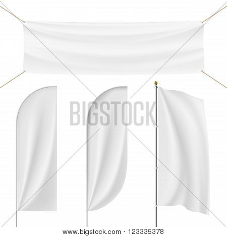 Set of realistic banner flag flagpole Flagstaff isolated on white background. Stock vector illustration.