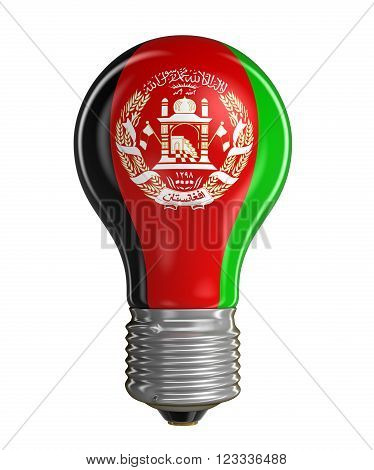 3D Light bulb with Afghani flag.  Image with clipping path