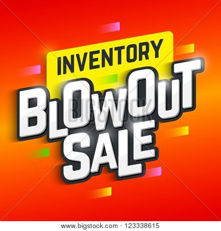 Inventory Blowout Sale banner. Special offer, big sale, clearance. Vector illustration.