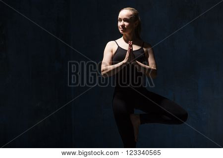 Beautiful Yoga Woman Doing Vrksasana Pose