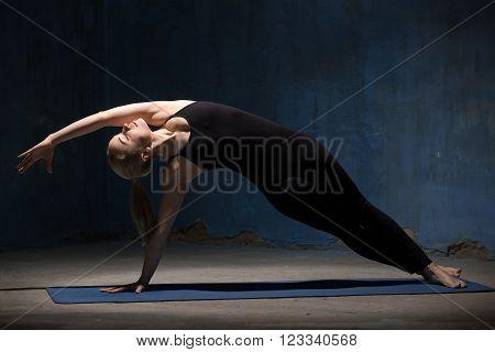 Beautiful Yoga Woman Doing Side Plank Pose
