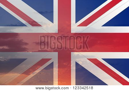 Flag of United Kingdom with sky. Abstract illustration.