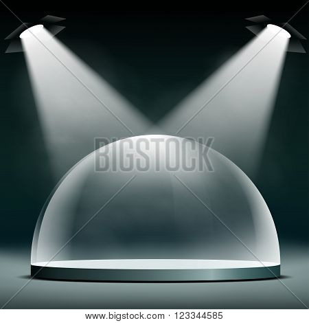 Glass dome floodlit for presentations exhibitions and protection. Stock vector illustration.