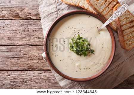 Du Barry French White Soup On The Table. Horizontal Top View