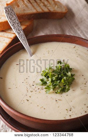 French Cream Soup Du Barry In Bowl Macro . Vertical
