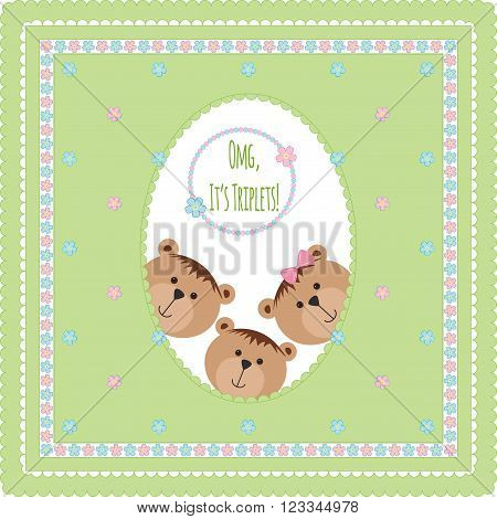 Three happy baby triplets. Baby arrival announcement card . Triplets baby boys, girl  shower card, cute newborn baby triplets. Teddy bears, kid style greeting card vector background