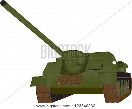A Heavy World War 2 Tank isolated on white