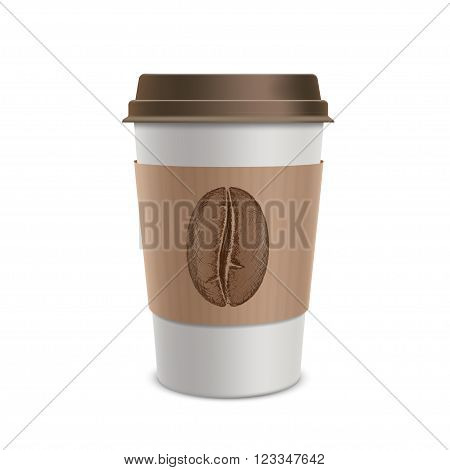Plastic disposable cups of coffee. Design of the packaging. Isolated on white background. Stock vector illustration.