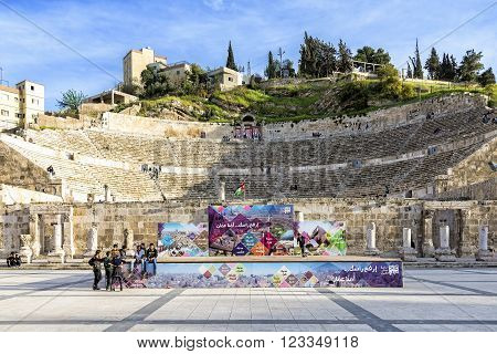 Amman, Jordan - April 02, 2015: View of the Roman Theater from Hashemite Plaza. The theater is a famous landmark in Amman, it dates back to the Roman period when the city was known as Philadelphia.