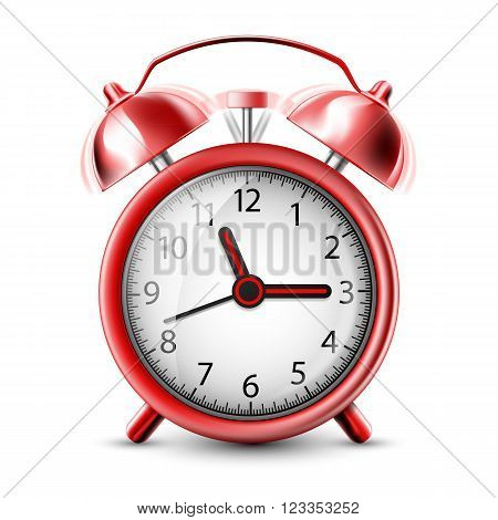 Realistic Icon ringing alarm clock. Isolated on white background. Stock vector illustration.