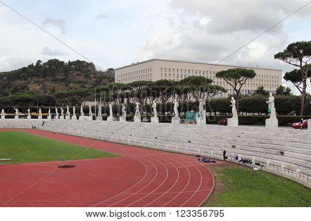 ROME ITALY - FEBRUARY 9 2016: Statues in the Stadio dei Marmi Stadium of the Marbles in the Foro Italico designed in the 1920s by Enrico Del Debbio