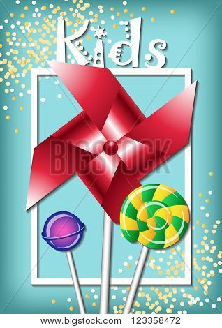 Pinwheel with bright candy, white frame, golden confetti, kids sing on a blue background