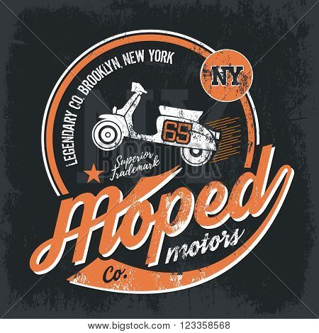 Vintage American moped old grunge effect tee print vector design illustration.  Premium quality superior retro scooter logo concept. NY shabby t-shirt emblem.