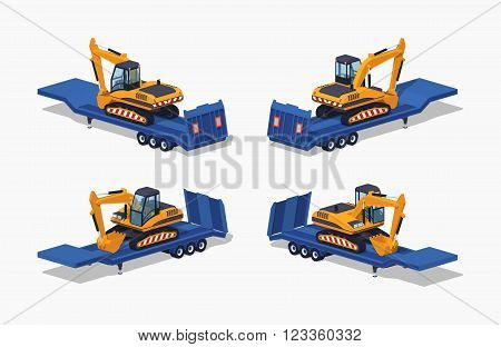 Yellow excavator on the blue low-bed trailer. 3D lowpoly isometric vector illustration. The set of objects isolated against the white background and shown from different sides poster