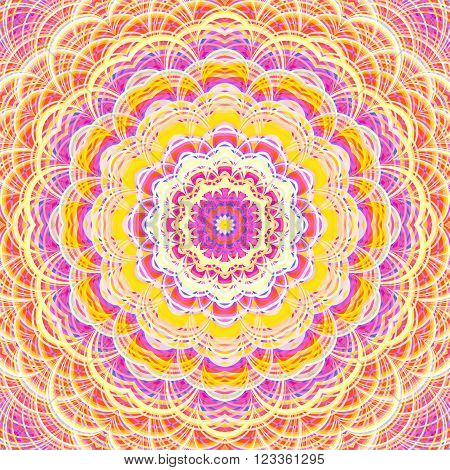 Intricate striped flower-like fractal mandala. Digitally generated ornate mandala in bright and pastel warm colors.