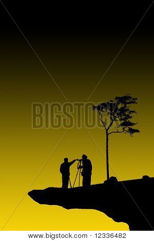 Photographing in cliff.