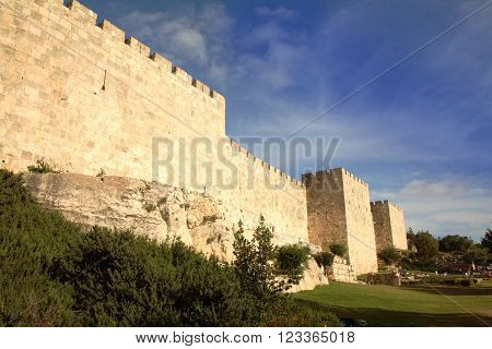 Old Jerusalem city walls - copy space on sky