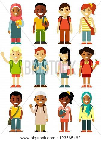 Multicultural school kids group isolated on white background