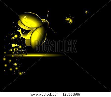 three luminous night-flying beetle on a dark background