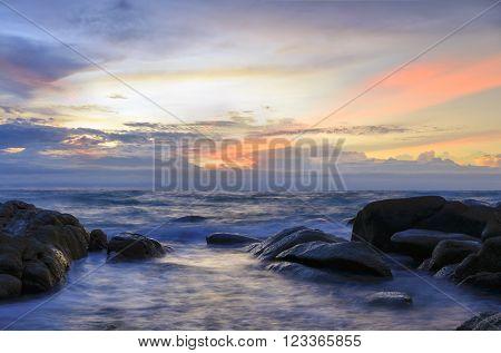 Seascape , Ripple and Sunrise at the beach scenic landscape Thailand