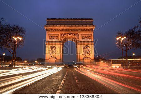 Arc de Triomphe & champs elysees Paris at night