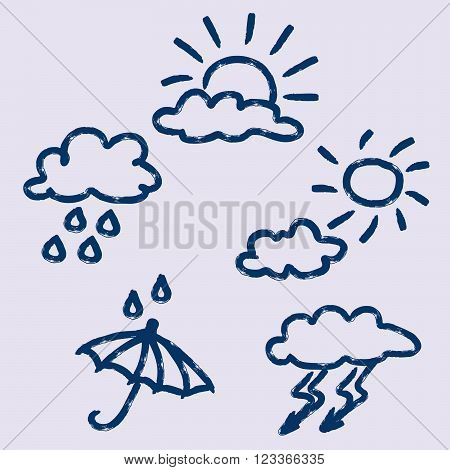 Set of wether icon, hand drawn vector illustration.