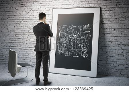 Research concept with businessman looking at business scheme on black frame. 3D Render