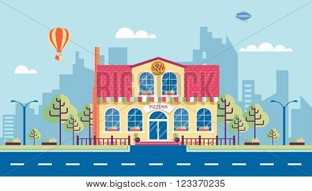 Stock vector illustration city street with pizzeria in flat style element for infographic, website, icon, games, motion design, video