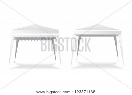 Folding white blank tent or canopy. Marquee and place, umbrella.  Vector illustration