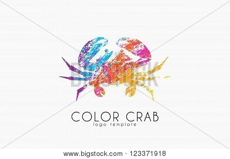 Crab logo. Color crab logo design. Seafood logo. Creative logo.