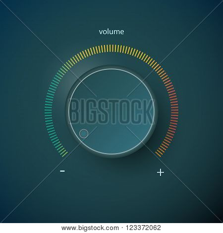 Realistic metal control panel tumbler. Music audio sound volume knob button minimum maximum level. Rotate switch interface stereo tuner. Design element illustration