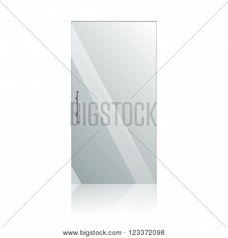Transparent glass doors with mirror image in steel frame isolated on white wall. Architectural interior symbol.