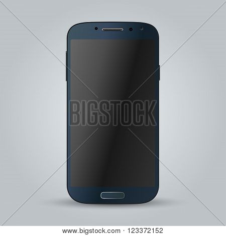 Realistic black mobile phone with blank screen isolated. Modern concept smartphone devices with digital display. illustration