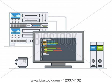 server equipment. workplace system administrator, programmer. illustration line style
