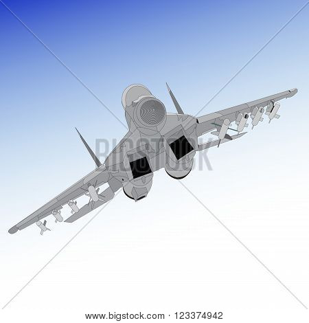 Air superiority fighter on a gradient background. Multirole fighter with a twin-engine jet fighter aircraft designed in the Soviet Union