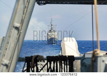 a warship convoy drives in mediterran sea