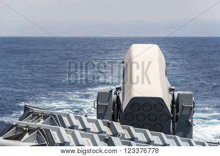 rolling airframe missile system on German corvette
