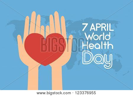 Hands Hold Red Heart Shape Over World Map Health Day Flat Vector Illustration