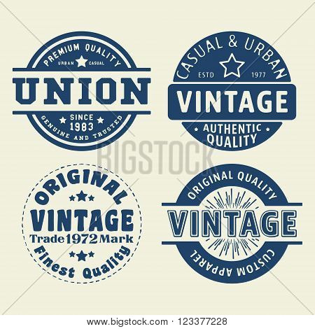 T-shirt print design. Vintage labels and stamps set. Printing and badge applique label t-shirts jeans casual wear. Vector illustration.