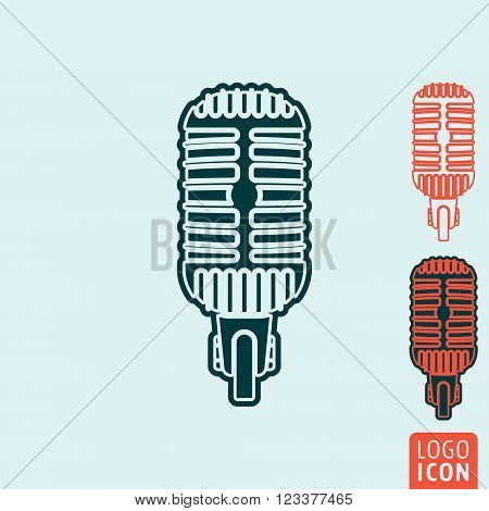 Microphone icon. Microphone symbol. Retro vintage microphone icon isolated. Vector illustration