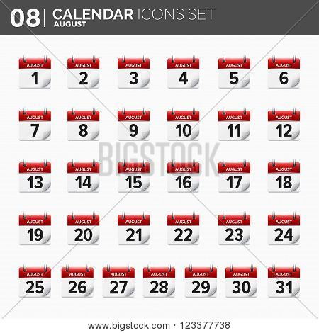 Vector illustration. Calendar icons set.  Date and time.  August.