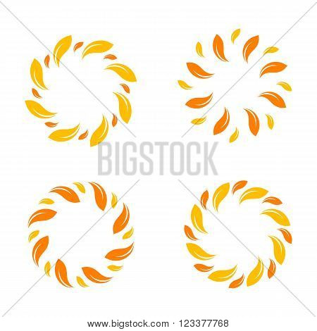 Yellow vector isolated leafs border. Stylish circle design. Abstract yellow color set logo. Sun logos set. Organic logo. Sunny logo. Logo sun. Nature logotypes.